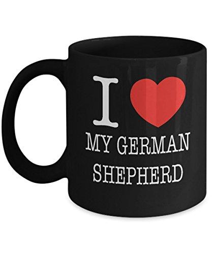 I Heart My German Shepherd Dog Lover Acrylic Coffee Mug Black 11oz