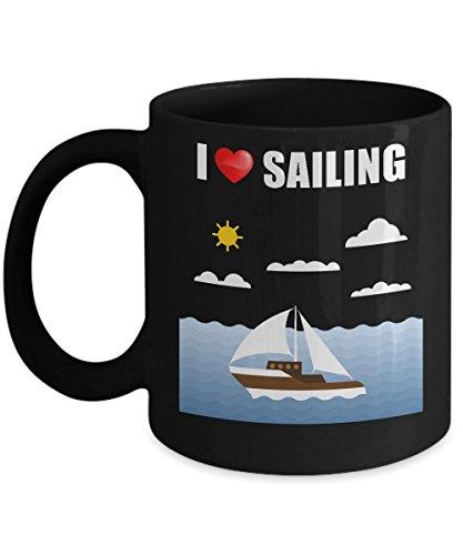 I Heart Sailing Novelty Acrylic Coffee Mug 11oz Black Ocean Sea Boating Lovers