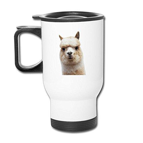 Alpaca Face Cute Llama Face Stainless Steel Tea Mug Travel Coffee Mug Or Tea Cup With Lid White