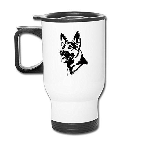 German Shepherd Dog Face Stainless Steel Tea Mug Travel Coffee Mug Or Tea Cup With Lid White