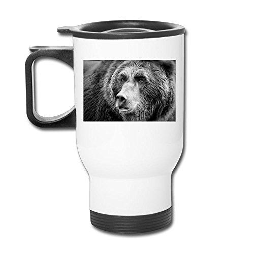 Grizzly Bear Wild Animal Stainless Steel Tea Mug Travel Coffee Mug Or Tea Cup With Lid White