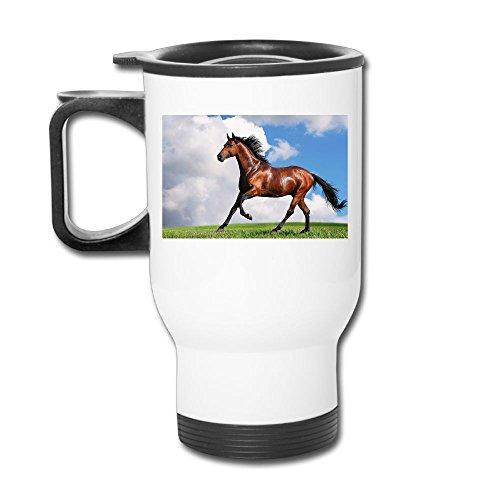 Running Wild Horse Stainless Steel Tea Mug Travel Coffee Mug Or Tea Cup With Lid White