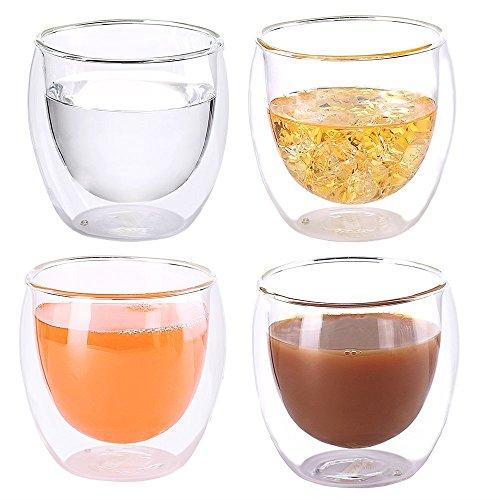 Heat Resistant Double-Wall Insulated Glass Espresso Mugs Latte Coffee GlassesWhiskycoffee cup Tea Mug - 250ml 9 ozSet of 4