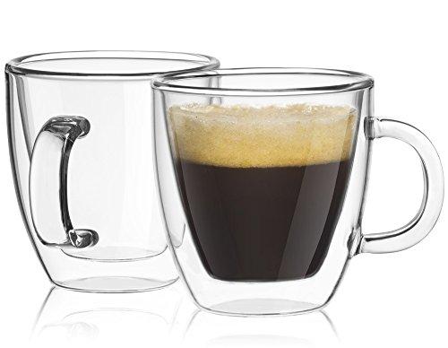 JoyJolt Savor Double Wall Insulated glasses Espresso Mugs Set of 2 54-Ounces