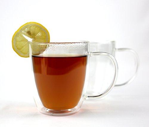 VizCása 16 Ounce Double-Wall Insulated Glass Coffee Tea Mug Cups Individual Cups