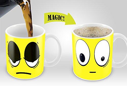 Heat Sensitive Mug  Color Changing Coffee Mug  Funny Coffee Cup  Yellow Wake Up Funny Face  11oz 100 Ceramic Mugs Great Gift Idea