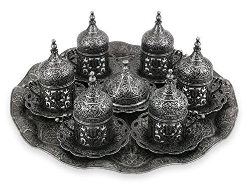 Traditional Design Brass Cast Turkish Greek Armenian Arabic Coffee Set Espresso Set Tea Set for Six-CS6-210