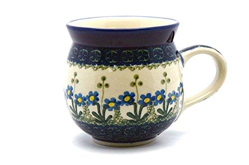 Polish Pottery Mug - 11 oz Bubble - Blue Spring Daisy