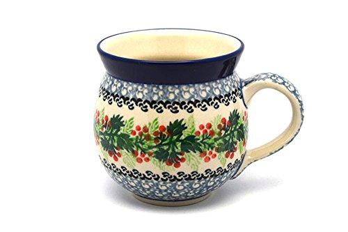 Polish Pottery Mug - 11 oz Bubble - Holly Berry