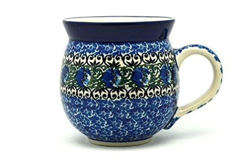 Polish Pottery Mug - 11 oz Bubble - Peacock Feather
