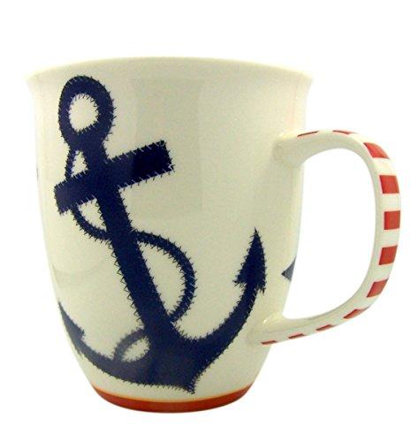 Nautical Chic Ship Anchor Ceramic Beach Coffee Mug 16 oz
