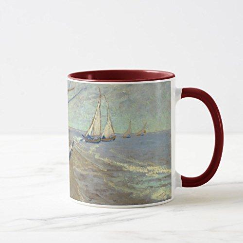Zazzle Fishing Boats On the Beach Coffee Mug Maroon Combo Mug 11 oz
