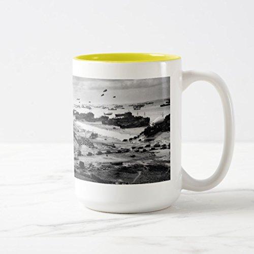 Zazzle Landing Ships Putting Cargo Ashore On Omaha Beach Coffee Mug Yellow Two-Tone Mug 15 oz