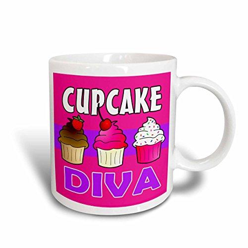 3dRose mug_43133_1 Cupcake Diva Kawaii Cakes Pink Ceramic Mug 11-Ounce