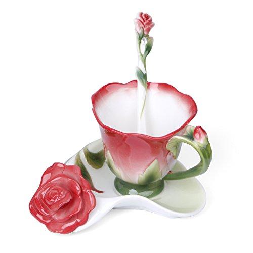 SYlive Coffee Cup Set  Ceramic Porcelain Rose Coffee Mug Cup Set