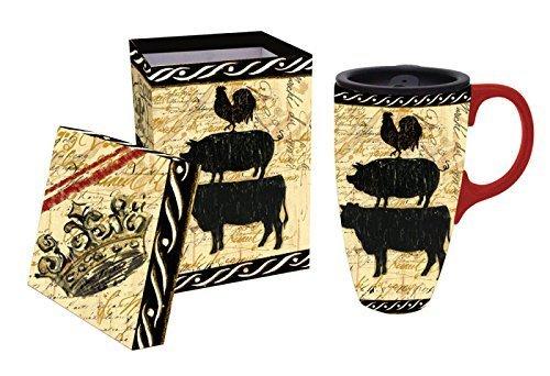 Elegant Farmhouse Ceramic Travel Coffee Mug with Gift Box by Gifted Living