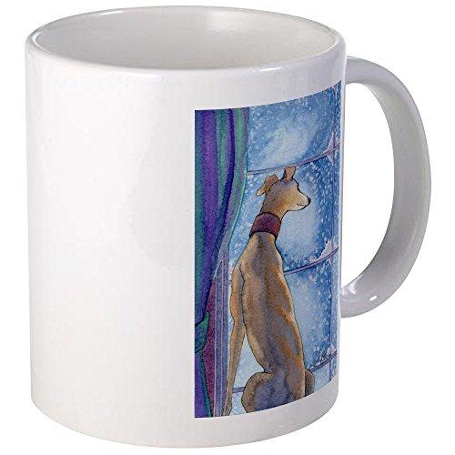 CafePress - Greyhound Watching Snow Fall Mugs - Unique Coffee Mug Coffee Cup
