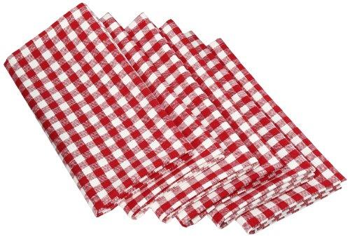 DII 100 Cotton Oversized Basic Everyday 20x 20 Napkin Set of 6 Tango Red Gingham Check