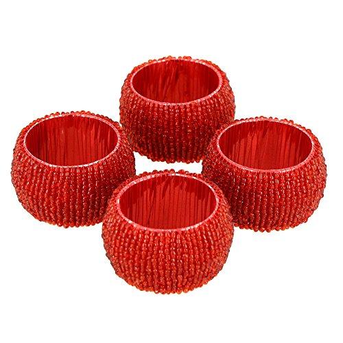 Handmade Indian Red Beaded Napkin Rings - Set of 4 Rings