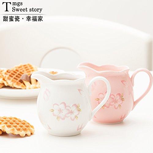 Mug For Coffee Milk Tea Drink Embossed Cherry Blossoms Ceramic Milk Jug Of Milk Can  Coffee Making Facilities  Milk With Handle  Pink
