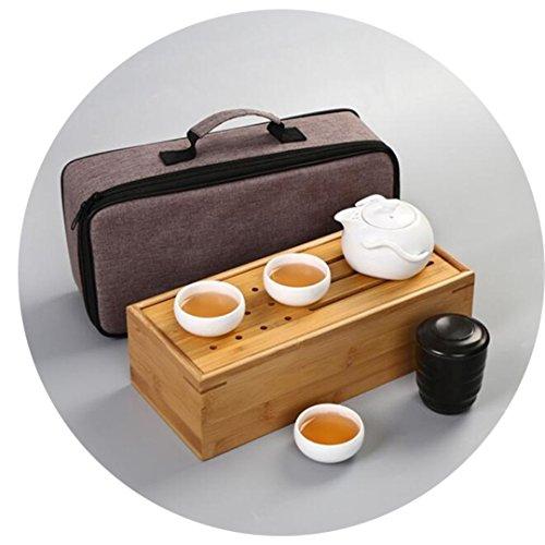 Set of 5 pieces Wooden Bamboo box Bag Chinese Kungfu Tea Set Portable Travel Porcelain