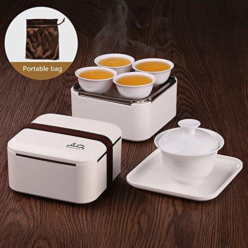 Awon SB60137 - Chinese Japanese Portable Travel Kungfu Tea Set with Teapot 4 Teacups Tea Tray Towel a Bag