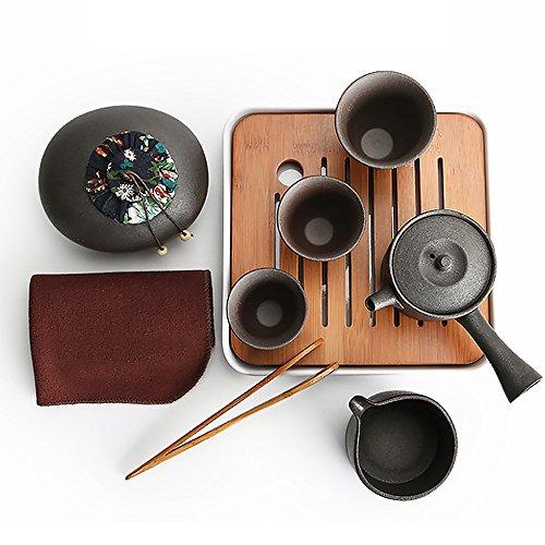 Ecomojiware Chinese Kungfu Tea Set Portable Travel Tea Set Porcelain Handmade Chinese Traditional Ceramics 1 Sets SH-CJ-13