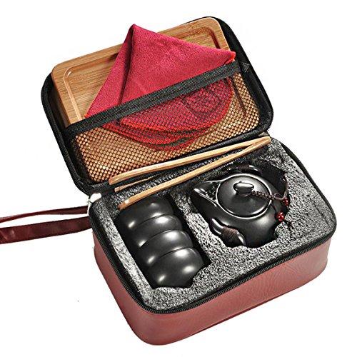 Hoobar Chinese Kungfu Tea Set  Portable Travel Tea Set Ceramic Tea Cup and Tea Pot with a Travel Bag 4 Cups Black