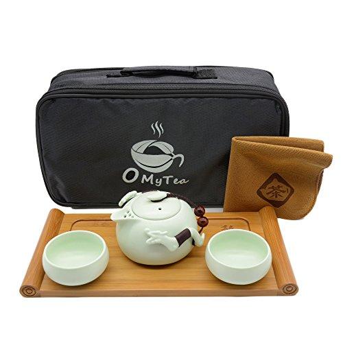 OMyTea Double Dragons Portable Travel Tea Set with a Portable Travel Bag - 100 Handmade Chinese  Japanese Vintage Kung Fu Gongfu Tea Set - Porcelain Teapot Teacups Bamboo Tea Tray Green