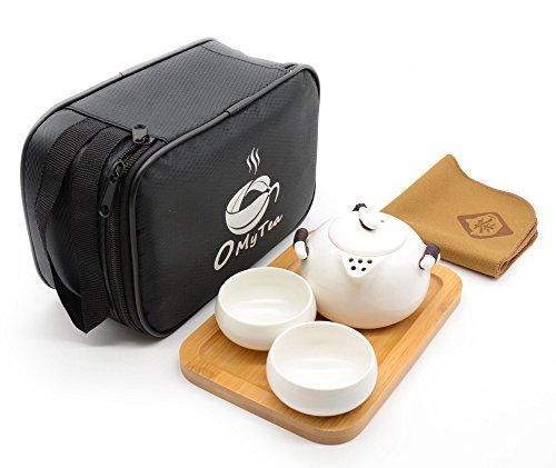 OMyTea Portable Travel Tea Set - 100 Handmade Chinese  Japanese Vintage Kungfu Gongfu Tea Set - Porcelain Teapot Teacups Bamboo Tea Tray Tea Mat with a Portable Travel Bag White-2 cups