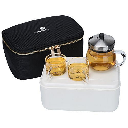 Portable Travel Glass Teapot Set with Removable Stainless Steel Infuser Lid 5Oz Teapot and 2 Tea Cups with Portable Bag for Outdoor Picnic