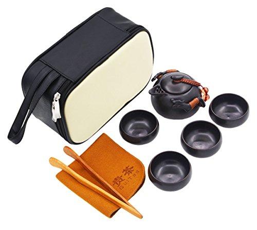 Vegali Chinese  Japanese Dragon Handle Pumpkin teapot Kungfu Gongfu Tea Set With A Portable Travel Leather Bag VC1 Black