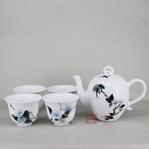 Chinese Jingdezhen over glaze Hand painted Porcelain Tea Set---1 teapot 4 cups