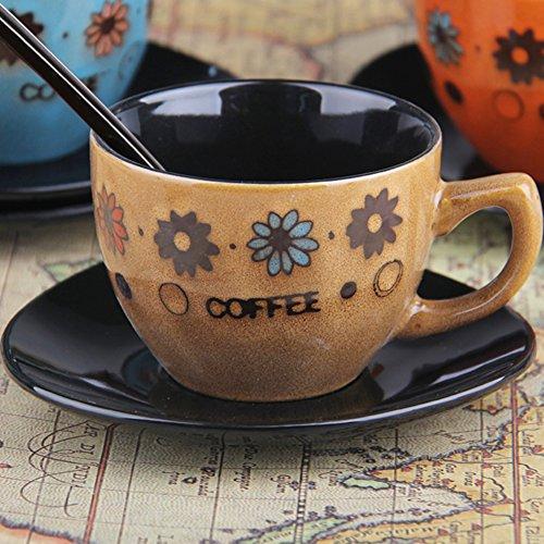 European-style coffee mug setCeramic hand-painted tea set retro coffee set milk glass mug-A