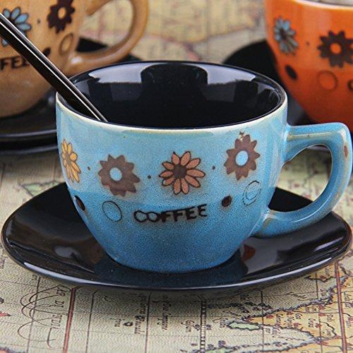 European-style coffee mug setCeramic hand-painted tea set retro coffee set milk glass mug-D