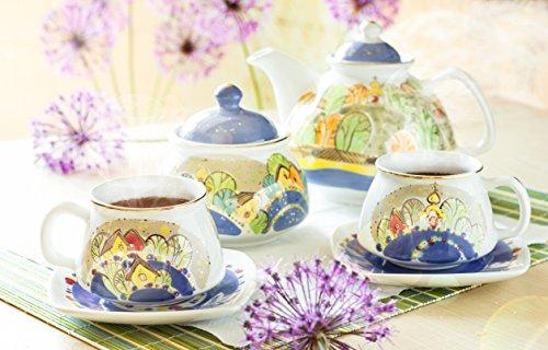 Handmade Embossed Hand-painted Tea Set Village and the River 338oz135oz62oz Ella-Ceramica By the St Elisabeth Convent