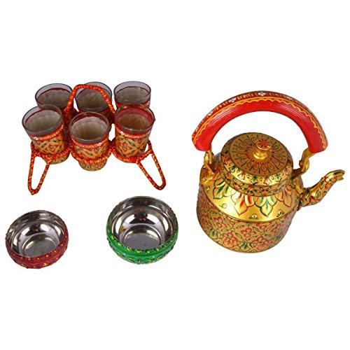 Kaushalam Indian Traditional Hand Painted Tea Set coffee box Multicolor