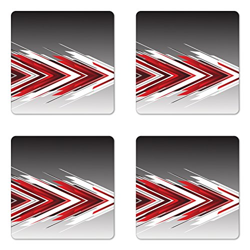 Red and Black Coaster Set of Four by Lunarable Futuristic Modern Arrows in Order Digital Art Print Square Hardboard Gloss Coasters for Drinks Charcoal Grey Light Grey and White