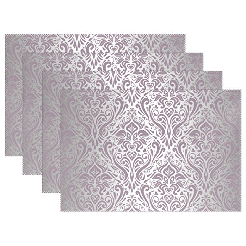 LAVOVO Pink Silver Vintage Placemats Plate Holder 12x18  Heat-resistant Stain Resistant Table Mats for Kitchen Dining Room Set of 6