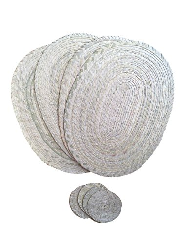 Natural Placemats and Coasters – Set of 4 - Eco-Friendly - Mexican Style - Handmade Woven Braided and Reversible - Easy to Clean - Great for Dining Table  Kitchen Indoor or Outdoor use