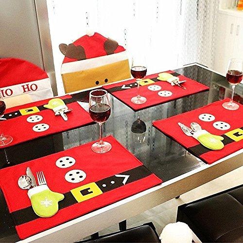 BUDI Christmas Table Mats Set of 6 Xmas Decors Food Dinning Placemats with Tableware Holder Bag 6