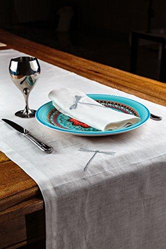 14X72 Linen Table RunnerWhiteIdeal for WeddingDinner PartiesEaster Table Decor - White - 100 Flax - Rectangular Embroidered