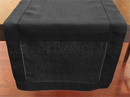 CleverDelights Black Linen Hemstitched Table Runner - 16 x 108 - 100 Pure Linen