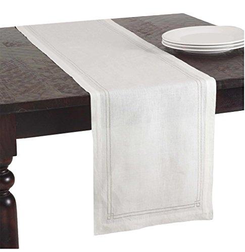 Kaitlyn Embroidered Linen Table Runner Ivory