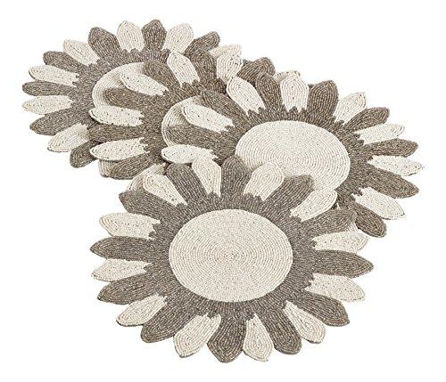Saro LifeStyle 7185M14R  Flower Design Beaded Placemat Multi 14 Set of 4 pcs