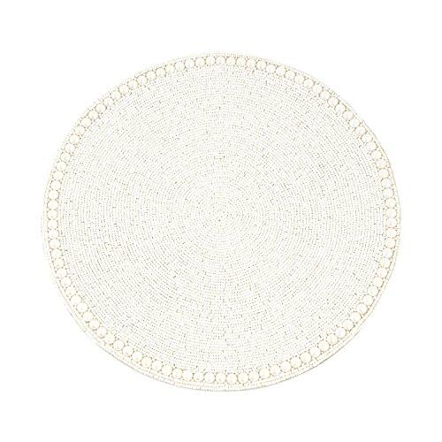 Saro LifeStyle 990VN15R  Glass Beaded Placemat   Vanilla 15 Set of 4 pcs
