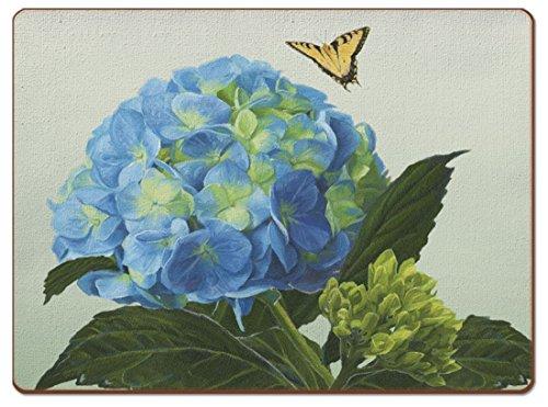4 Cala Home Premium Hardboard Placemats Table Mats Blue Hydrangea