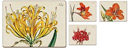 4 Cala Home Premium Hardboard Placemats Table Mats Botanical Lilies