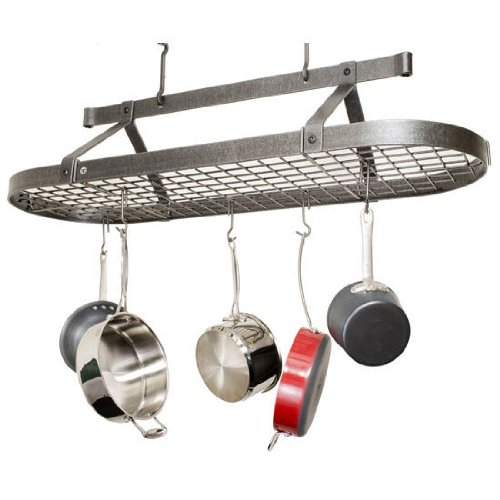 Enclume Premier 4-Foot Oval Ceiling Pot Rack Hammered Steel