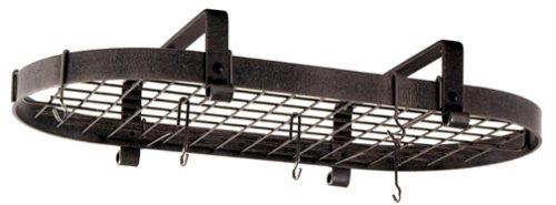 Enclume Premier Low-Ceiling Oval Pot Rack Hammered Steel